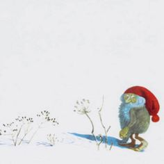 """From """"The Fox and the Tomten"""" by Astrid Lindgren, after a poem by Karl-Erik Forsslund and illustrated by Harald Wiberg Winter Illustration, Book Illustration, Christmas Scenes, Christmas Art, Pippi Longstocking, Rumpelstiltskin, Elves And Fairies, Forest Creatures, Believe In Magic"""