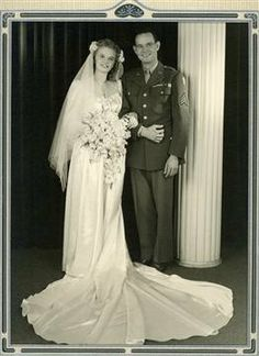 Photo wedding uniform military vintage bride groom 1940s by Anna3, $12.00