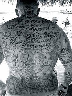 Our good friend Richie had his back inked by the king of the west coast; Mister Cartoon.  #tattoos #california #greyblack #MisterCartoon
