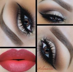 neutral eye makeup with a wing and red lipstick