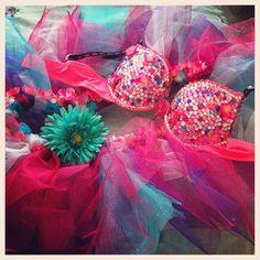 Rave / Festival / Go Go Bra. Go-Go Dancer. Rhinestones, gems, beads, beading, girly. Costume. Tutu.