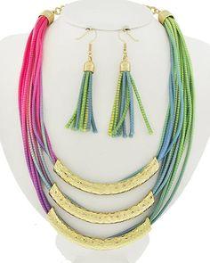 Gold Tone / Multi Color Cord / Lead&nickel Compliant / Metal / Fish Hook (earrings) / Multi Row / Necklace & Earring Set