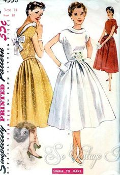 1950s Lovely Full Skirt Dress Pattern Low V Back Simple To Make Simplicity 4556 Vintage Sewing Patterns UNCUT Bust 32