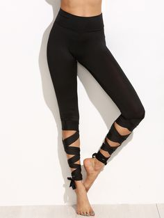 Online shopping for Black Wide Waistband Tie Up Leggings from a great selection of women's fashion clothing & more at MakeMeChic.COM.