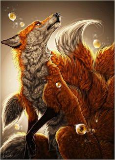 Red nine tailed fox art. Anime Wolf, Fox Spirit, Spirit Animal, Nine Tailed Fox, Fox Drawing, Pet Fox, Fox Art, Furry Art, Mythical Creatures