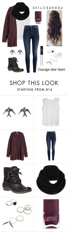 """""""r t d"""" by julia-grace-dressed-in-lace ❤ liked on Polyvore featuring Blackbird and the Snow, H&M, Sperry, prAna, Nails Inc., NARS Cosmetics and country"""