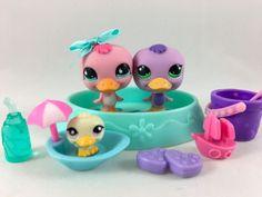 Littlest Pet Shop Cute Pair of Ducks #825 & #1522 w/Pool, Teensie & Accessories #Hasbro