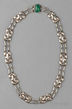 Sterling Silver and Green Onyx Necklace, George Jensen, 1933-44 mark, designed by Georg Jensen, with leaf and bud motifs, green onyx cabochon clasp, lg. 17 in., no. 2, signed GJ in a logo, Denmark.