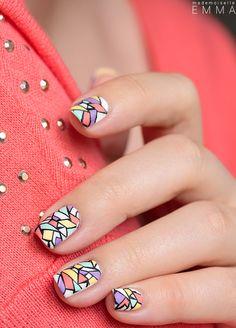 inspiring nail arts almond shaped nails amazing nail art nail art decals nail art printer white nails with rhinestones Colorful Nail Art, Easy Nail Art, Cool Nail Art, Nails Opi, Fun Nails, Pretty Nails, Nail Polish Designs, Cool Nail Designs, Nail Art Printer