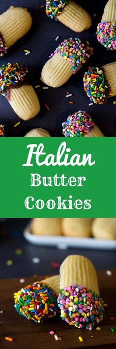 a few simple ingredients, you'll be able to make these bakery-style Italian Butter Cookies right at home. And for a real treat, you can make jam sandwiches out of them and dip them in chocolate! Italian Butter Cookies, Italian Cookie Recipes, Easy Cookie Recipes, Cookie Desserts, Just Desserts, Delicious Desserts, Dessert Recipes, Italian Desserts, Baking Recipes