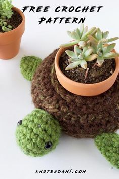 Make your very own cute turtle to hold your succulents and plants! Get started with amigurumi with this free crochet pattern for your potted plants. Create your own cute world turtle with this easy and free crochet pattern. Cute and kawaii, this basic and beginner friendly DIY project is perfect for any crocheter that loves plants. This stuffed animal amigurumi is perfect for home decor. Great project for the any season! Stuffed animal plushie that can be made quickly with lion brand. Simple Crochet, Easy Crochet Patterns, Amigurumi Patterns, Free Crochet, Holiday Crochet, Halloween Crochet, Beginner Crochet Projects, Crochet For Beginners, Crochet Home Decor