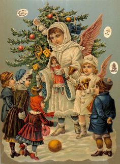 angels handing out gifts to children in front of Christmas tree
