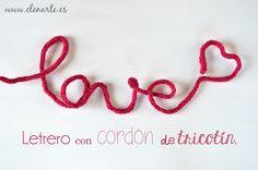 Letrero con cordón de tricotín / www.elenarte.es