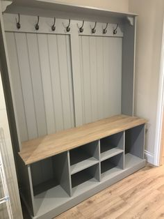 Our Boot Room Benches are the perfect way to keep organised. A versatile, practical and elegant solution for any hall, utility room, boot room or kitchen. The solid oak seat doubles houses plenty of storage space for all your boot room bits and pieces. Boot Room Storage, Utility Room Storage, Porch Storage, Hallway Storage, Storage Spaces, Ikea Utility Room, Hall Storage Bench, Hall Storage Ideas, Coat Hooks Hallway
