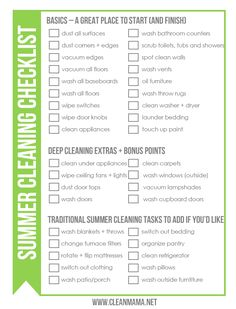 Ready to get some cleaning done this summer? This ought to help! Print this FREE Summer Cleaning Checklist via Clean Mama