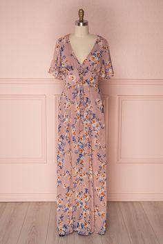 Ambrosine #boutique1861 #dress #maxidress #maxi #floral #floralprint #flowers #pink #dustypink #pink #rose #ruffles #shortsleeves