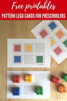 Free Pattern LEGO cards for preschoolers   LEGO activities for preschool   Actividades educativas con LEGO  Juego de patrones para niños de preescolar - MOM BRICKS