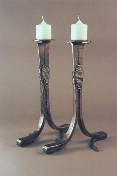 candlesticks Blacksmith Workshop, Blacksmith Forge, Blacksmith Projects, Wrought Iron Candle Holders, Candlestick Holders, Candlesticks, Candleholders, Forging Metal, Iron Art