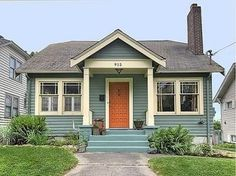 58 Exterior Paint Schemes For Bungalows - About-Ruth Exterior Paint Schemes, Exterior Paint Colors For House, Paint Colors For Home, Paint Colours, Cottage Exterior Colors, Bungalows, Light Blue Houses, Teal House, Green House Color