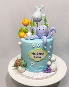 Ocean Birthday Cakes, Ocean Cakes, Beach Cakes, Birthday Cake Girls, First Birthday Cakes, Fondant Cake Designs, Fondant Cakes, Cake Designs For Kids, Novelty Cakes