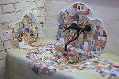 Artistic bathroom design in patchwork style