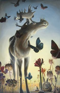 Jean Bradbury --Moths to Moose oil on panel 24 x 40 inches Art And Illustration, Illustrations, Moose Pics, Moose Pictures, Moose Decor, Moose Art, Animal Paintings, Spirit Animal, Fantasy Art