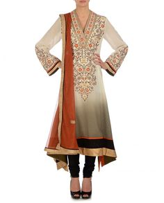 Ombre Ivory and Olive Gray Suit with Floral Embroidery Pakistani Suits, Indian Suits, Punjabi Suits, Indian Dresses, Embroidery Shop, Floral Embroidery, Cut And Style, My Style, India Style