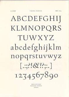 FIGURAL ROMANA.Praha, Grafotechna. 50 léta. Nestr. (16) s. včetně obálky. Type specimen by OLDŘICH MENHART vytvořil návrh tohoto písma již v r. 1940, kursiva vznikla dodatečně, až po r. 1948.