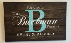 """A great gift for a wedding, shower gift, anniversary, or just because. The design is available in several options which is listed in the """"Style"""" dropdown box. 1. Wood Sign (- available in all backgrou Monogram Signs, Personalized Signs, Groomsmen Presents, Family Name Established, Hanging Signs, Wall Signs, Canvas Letters, Rustic Wood Signs, Wedding Anniversary Gifts"""