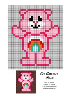 Oso Amoroso Rosa - Care Bear - hama beads - pattern