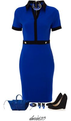 """Stretch Shirt Dress"" by doris610 ❤ liked on Polyvore....why am I so attracted to black and blue!!!!"