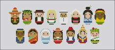 For the Mini People around the World series, a cross stitch pattern that features 15 different nationalities in their typical dresses! Mexico, Hawaii, Spain, Germany, Arabia, Holland, Japan, Jamaica, India and so on!