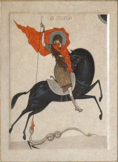 Byzantine Icons, Byzantine Art, Saint George And The Dragon, Dragon Icon, Fantasy Concept Art, Ukrainian Art, Art Icon, Orthodox Icons, Sacred Art