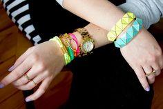 Neon-bracelet arm party
