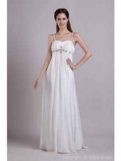 Charming A-Line Spaghetti Straps Floor-Length Chiffon Wedding Dress WAL06443-G