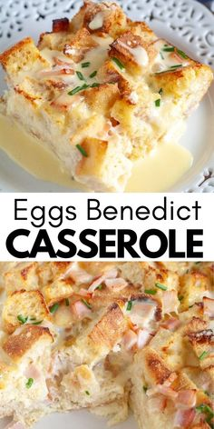 Easy and delicious eggs benedict breakfast casserole is perfect for a holiday brunch. Made with canadian bacon, eggs and of course the sauce that makes the perfect eggs benedict.