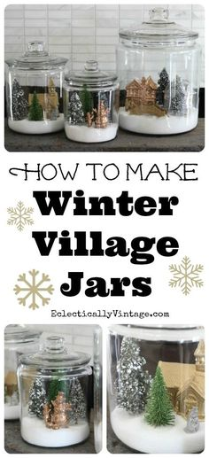 to make winter snow globe jars -- this would be a great use for all those super-cute dyed bottle brush trees out there!How to make winter snow globe jars -- this would be a great use for all those super-cute dyed bottle brush trees out there! Christmas Snow Globes, Noel Christmas, Winter Christmas, All Things Christmas, Vintage Christmas, Winter Snow, Diy Snow Globe, Christmas Projects, Holiday Crafts