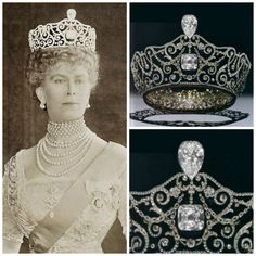 "The Delhi Durbar Tiara with the Cullinan diamonds by Garrards for Queen Mary for the Delhi Durbar on December 12,1911. Durbar is Hindi, for a 'ceremonial gathering to pay homage. The gathering was to install King George V and Queen Mary as Emperor and Empress of India. King George V admired this piece and referred to it as ""Mary's best tiara"". It was originally worn with emerald drops and in its current form is now worn without the Cullinans."