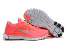 [UR155] Hot Punch Nike Free Run 3 Ladies Coral Pink Size 7
