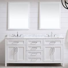 "Tahoe 72"" Double Bathroom Vanity Set with Mirror in White"