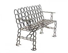 Rustic Iron Horseshoe Bench : Lot 524. Hammer Price $225