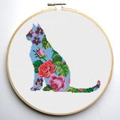 Floral Cat cross stitch pattern - set of 4 pattern | Craftsy