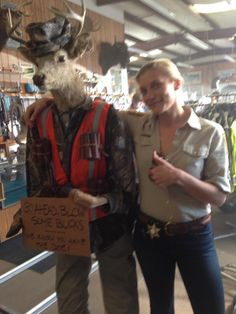Katee Sackhoff  Today for #Longmire we shot at a gun store...no pun intended...and found this guy!