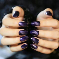 YUNAI Art Nail Purplish Cat Eye Effect Texture Fake Nails Gel Nail Polish Manicure Tips 24pcsset 3 ** For more information, visit image link.