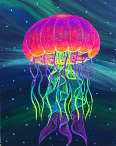 Original Blacklight Jellyfish painting on canvas. Sides are painted, no need for frame, can hang right on the wall. All work is signed by Artist. Looks great with or without a Blacklight. Perfect to hang above an aquarium, or put in a Blacklight room. Jellyfish Drawing, Jellyfish Painting, Trippy Painting, Neon Painting, Jellyfish Tattoo, Jellyfish Quotes, Octopus Painting, Colorful Fish, Tropical Fish