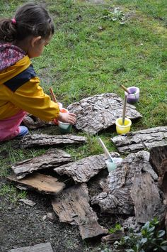 Painting bark outdoors - Stomping in the Mud ≈≈                                                                                                                                                                                 More