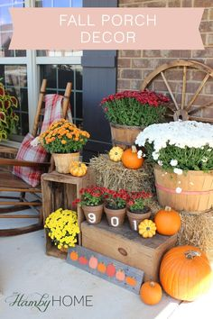 Fall Porch with Mums, Pumpkins, Wagon Wheel and Address Pots