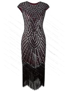 fcbd4c7fbee Women 1920s Flapper Costume Gatsby Party Long Evening Fromal Prom Fringed  Dress