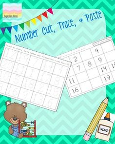 This download includes 3 PDF worksheets to help with 1-20 number recognition.Trace the numbers, cut them out, paste them in the correct order and use the follow up sheet to fill in the missing numbers :)I hope you enjoy this little FREEBIE!