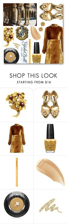 """The Yule Ball (Hufflepuff)"" by curioser-and-curioser ❤ liked on Polyvore featuring Tiffany & Co., Dolce&Gabbana, A.L.C., OPI, Too Faced Cosmetics, Burberry, Lancôme, Urban Decay and Miriam Haskell"